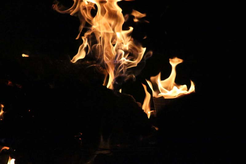 Flames dancing in the night