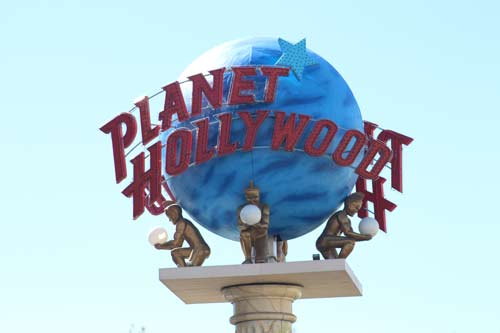 The Planet Hollywood sign in Las Vegas, NV