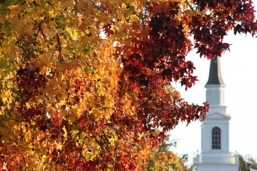 Church with autumn leaves obscuring it