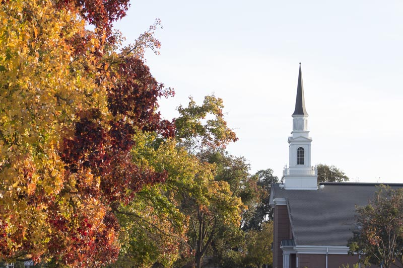 Fall trees with a church in the background