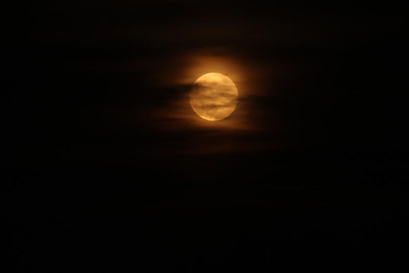 A cloudy moon